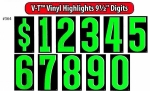 "V-T Vinyl Highlights - Windshield Numbers - 9 1/2"" - Product Image"