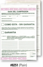 2-Part Buyers Guide - Manufacturer Warranty/As Is - Adhesive Top and Bottom - Spanish - 2017 Version - Product Image