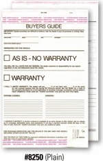 2-Part Buyers Guide - Manufacturer Warranty/As Is - Adhesive Top and Bottom - 2017 Version - Product Image