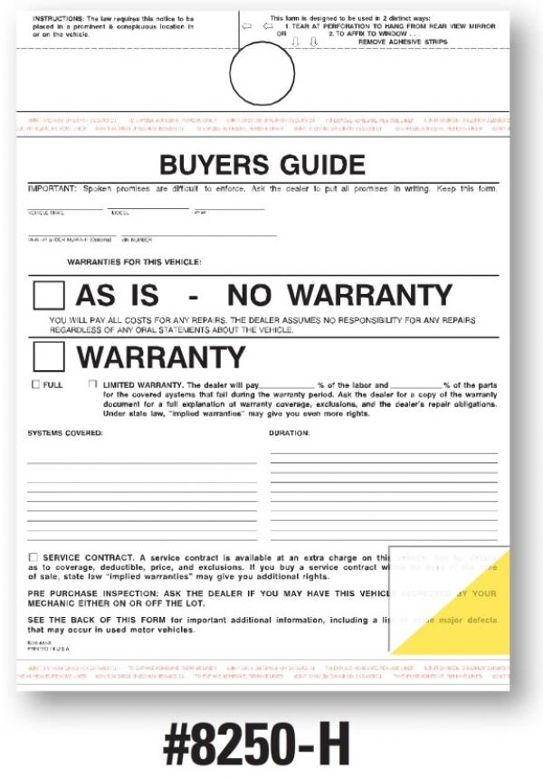 2-Part Buyers Guide - Manufacturer Warranty/As Is - Mirror Hang and Adhesive Top and Bottom - 2017 Version - Product Image