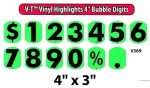 "V-T Vinyl Highlights - Bubble Digit Windshield Numbers - 4"" - Product Image"