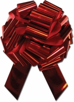 "14"" Red Metallic Windshield Pull Bows - Product Image"