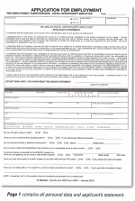 Application for Employment - Form #EMP-1 - Product Image