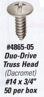 "License Plate Screws - Duo-Drive Truss Head with Dacromet finish.  Size is #14 x 3/4"" - Product Image"