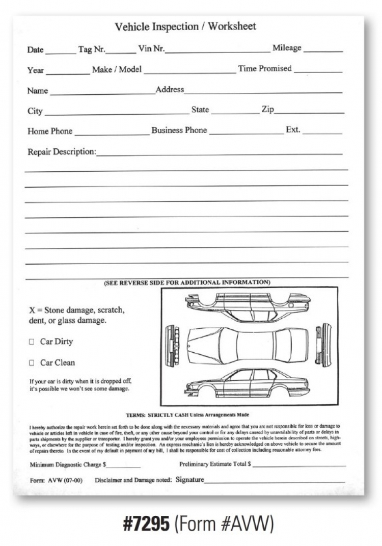 Vehicle Inspection Worksheet - Form #AVW , DealerStockRoom ...